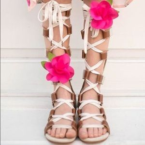 Girls Joyfolie Mia gladiator sandals with flowers